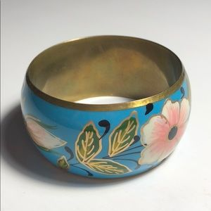 Jewelry - Hand painted floral cuff bracelet